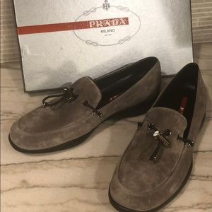 PRADA gray suede toggle loafers, never worn